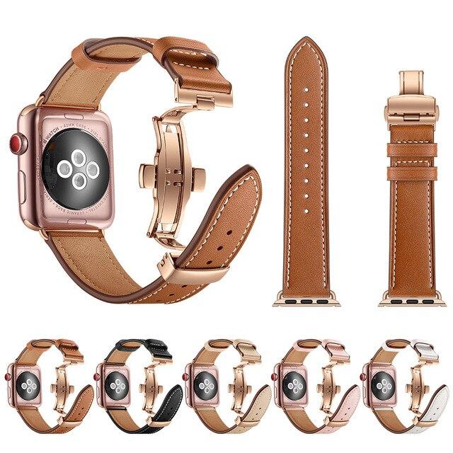 คุณภาพสูงสำหรับ Apple นาฬิกา Series 4 44 มม. 40 มม. Rose gold Butterfly clasp สายนาฬิกาสำหรับ iWatch 3/2/42mm 38mm