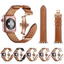 Correa de cuero de alta calidad para Apple Watch Series 4 44mm 40mm oro rosa mariposa cierre correa para iWatch 3/2/42mm 38mm