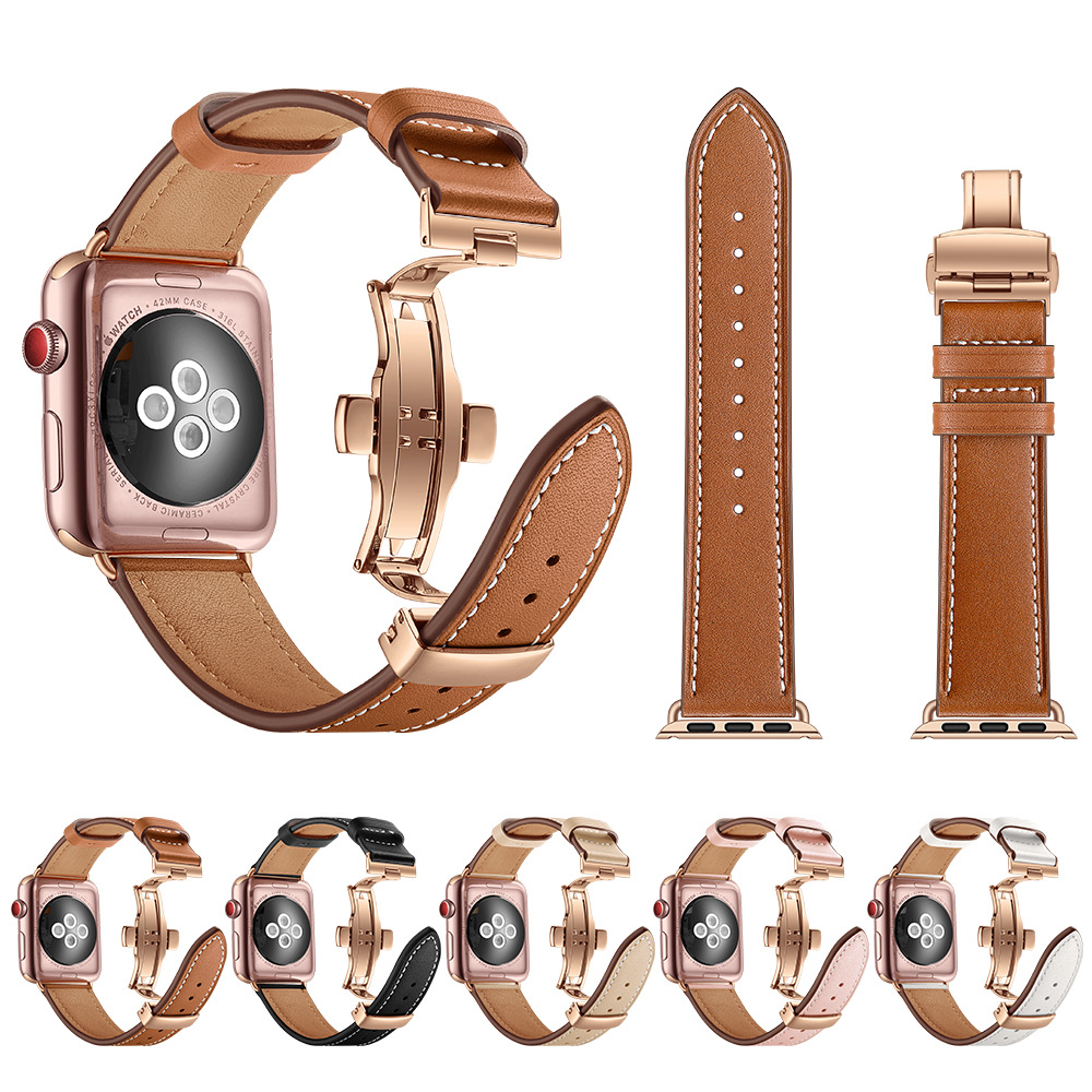 High Quality Leather Band For Apple Watch Series 4 44mm 40mm Rose Gold Butterfly Clasp Strap Watchband For IWatch 3/2/ 42mm 38mm