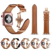 Hoge kwaliteit Lederen Band voor Apple Horloge Serie 4 44mm 40mm Rose gouden Vlinder sluiting Strap horlogeband voor iWatch 3/2/42mm 38mm