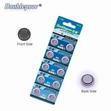 Qualidade 10 pcs/1 cartão Doublepow DP-LR44 1.5 V Botão Bateria de Célula tipo Moeda De Lítio AG13.AG76.357. GPA76 OEM é aceitável