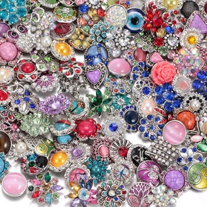 Image 4 - Wholesale 50pcs/lot Amazing Styles Rhinestone/Opal/Natural Stone Metal Buttons 18mm snap button Jewelry for Snap Jewelry