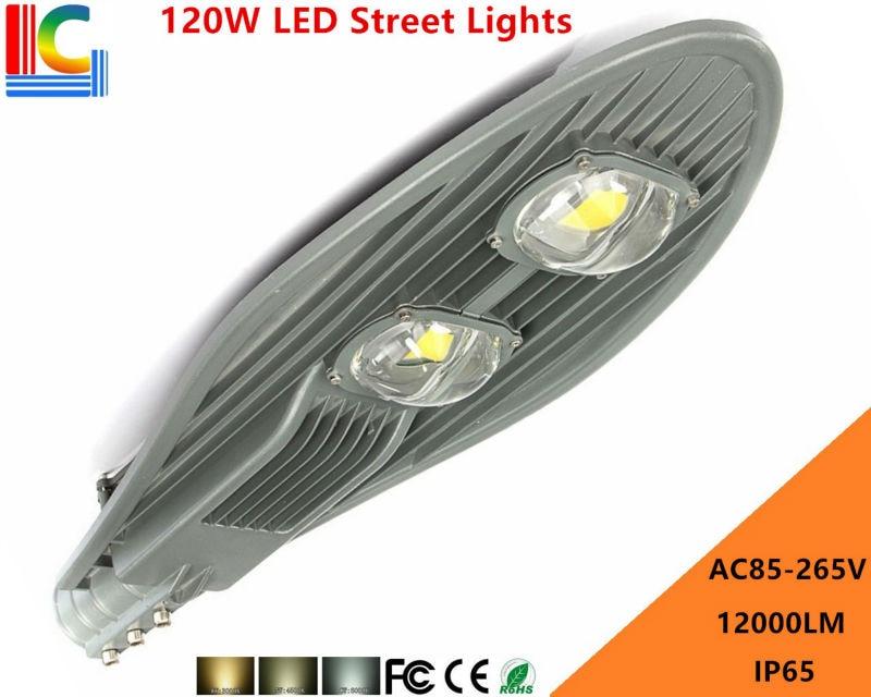 ФОТО AC85-265V 120W LED Street light 110V 220V 130W/LM IP65 Waterproof Apply Outdoor lighting highway main road motorway Park Plaza
