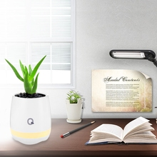 2017 New Smart Touch Speaker Music Flowerpot Night Light Rechargeable Wireless LED Night light Lamp Home Decorative kmashi new led flame lamp night light wireless speaker touch soft light iphone android bluetooth 3d bass music player