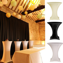 15pcs 60cm White/Black Lycra dry Round Based Stretch bar cover Cocktail table cover &cloth for wedding event &party decoration(China)
