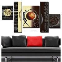 Pintado a mano lienzo pintura al óleo lienzo de pared abstracta 5 unids Decoración para el hogar imagen Sets grande barato lona para la habitación