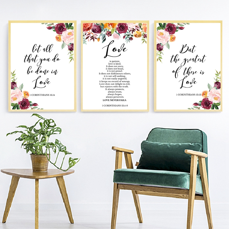 US $2.57 30% OFF|Bible Verse Love Quotes Wall Art Canvas Painting  Watercolor Flowers Scripture Christian Posters And Prints Pictures Home  Decor-in ...