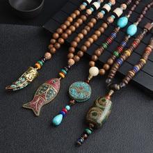 Новинка, колье ручной работы в Непале, буддистская мала, подвеска из деревянных бусин и ожерелье, этнический Рог, рыба, длинное, для мужчин, t, ювелирные изделия для женщин и мужчин