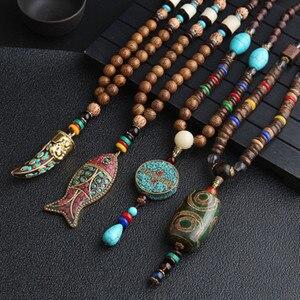 2020 New Handmade Nepal Necklace Buddhist Mala Wood Beads Pendant & Necklace Ethnic Horn Fish Long Statement Jewelry Women Men(China)