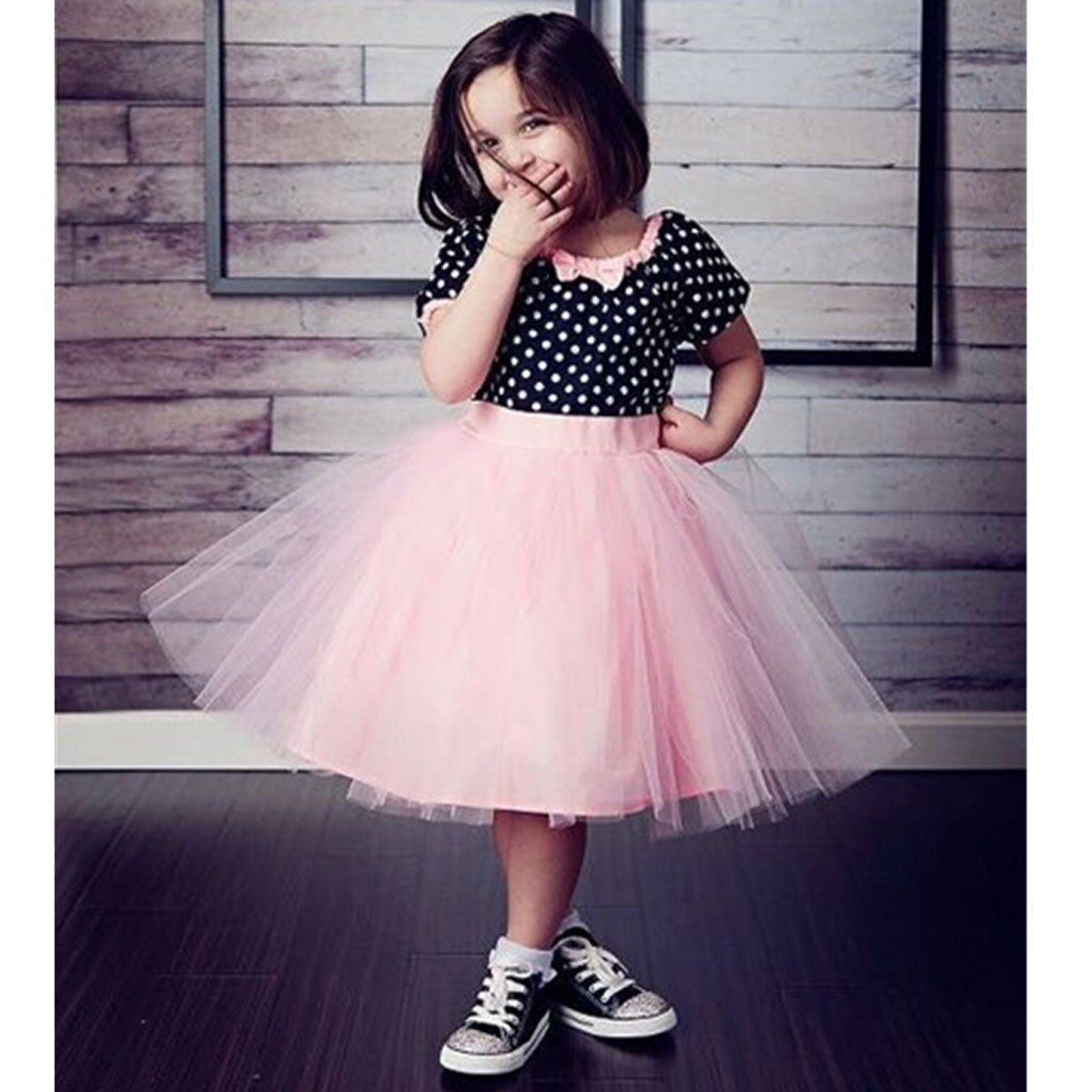 2017 Top Fashion Direct Selling knielange Korte Dot Kant Meisjes Kids - Kinderkleding