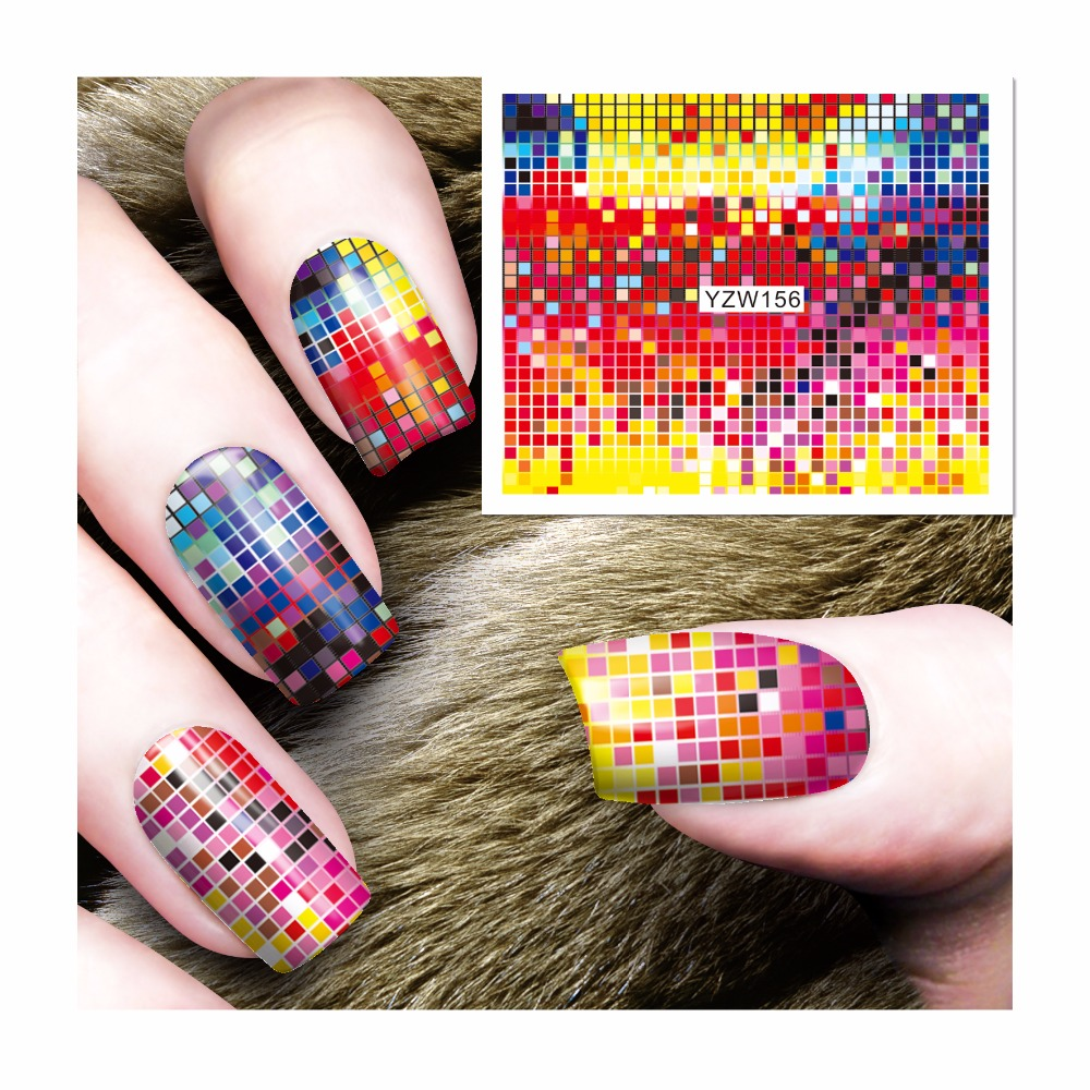 ZKO 1 Sheet Water Transfer Foils Nail Art Sticker Full Colorful Lattice Design Water Decals Nails Decorations Tools Sticker 156 12 rolls mix color nail art sticker transfer foils decal dazzle colorful nails decoations set