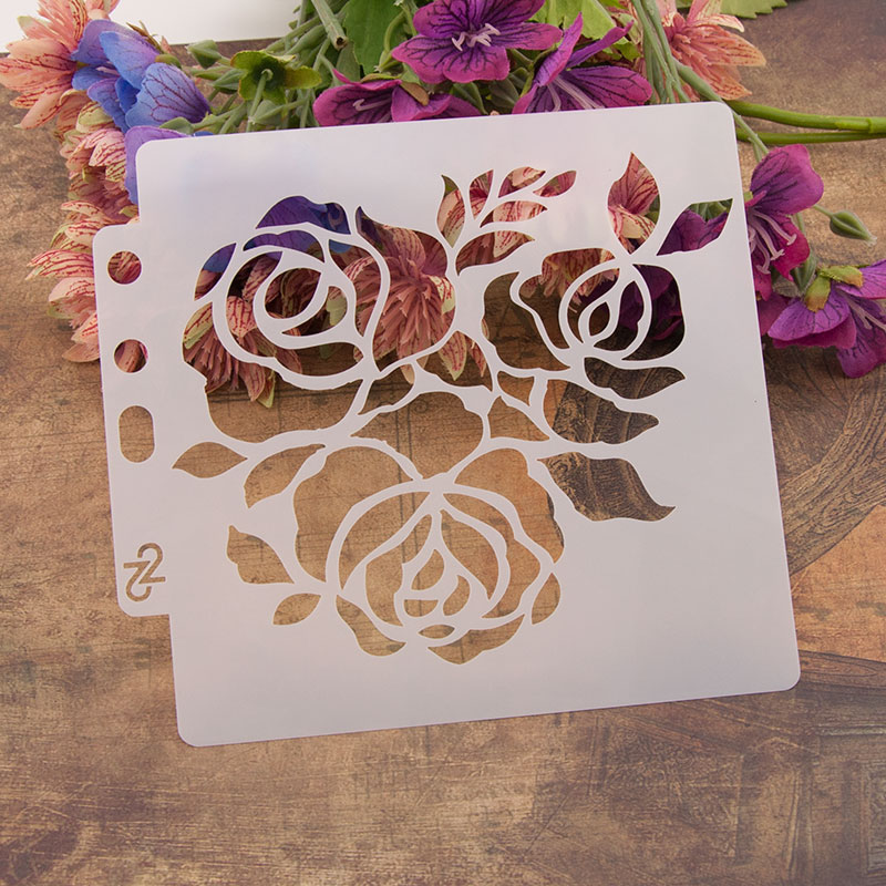 "13cm 5.1"" Rose Flower 3 DIY Layering Stencils Wall Painting Scrapbook Coloring Embossing Album Decorative Paper Card Template"