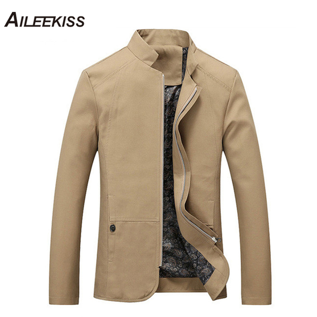 2019 Autumn Summer Spring Men Jacket Cotton Cargo Jackets New Design Plus  Size Solid Casual Stand Male Windbreaker Cool XT316 11854202213a
