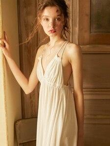 Image 3 - Summer Vintage Viscose Sleepwear Elegant Female Princess White Cotton Nightgowns Sleeveless Sexy Lingerie