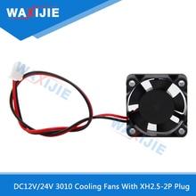 5PCS 3010 Cooler Fan DC 12V 24V Brushless Cooling Fans 5 Blade 2 Wire XH2.5-2P Plug Mute 30*30*10mm 3D Printer Cooler Radiator new original dv6224 2 24v original plug inverter fan 55kw 75 90kw