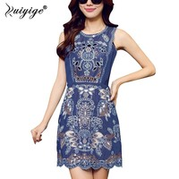 Ruiyige 2018 Summer Denim Dress Casual Slim Tank Print Sleeveless Dresses Clothing Women Elegant Jeans Lining Mini Vestidos