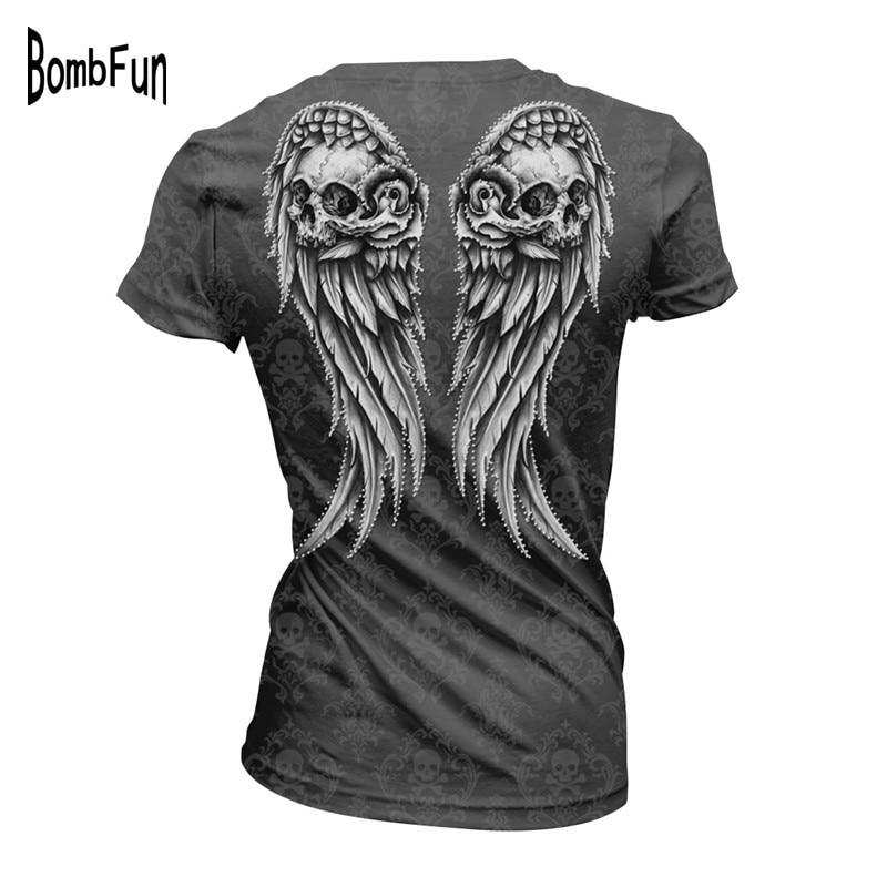 2017 Nieuwe Vrouwen T-shirt Zomer Harajuku Tops Back Wings 3D Print - Dameskleding