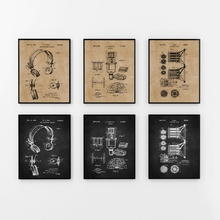 Pósteres e impresiones clásicas de patente de grabación de música, auriculares con micrófono, arte en lienzo de Blueprint, decoración de pared, regalo de músico