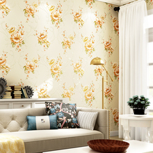 American Style Rustic Big Floral Wallpapers Design Embossed Non Woven Wall Paper for Bedroom Walls Yellow Flower Wallpaper Roll
