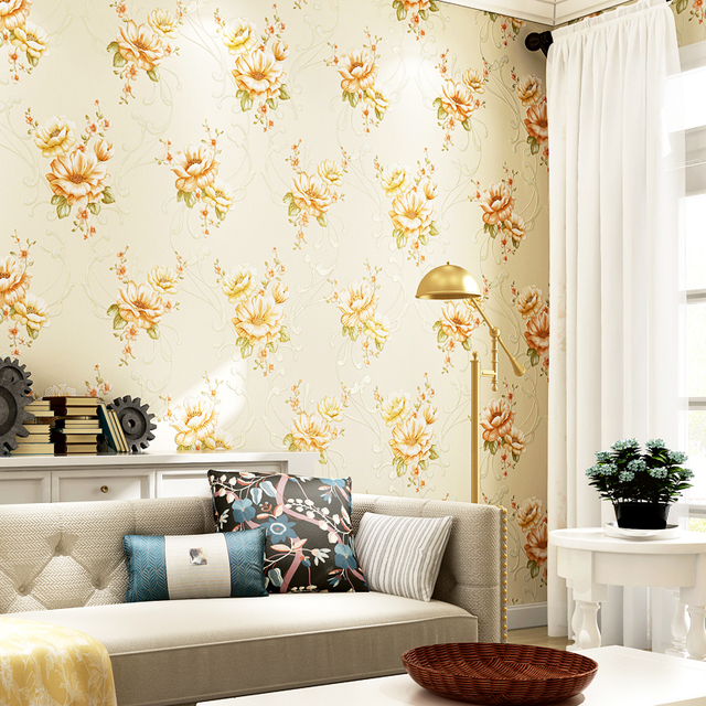 American Style Rustic Big Floral Wallpapers Design Embossed Non ...