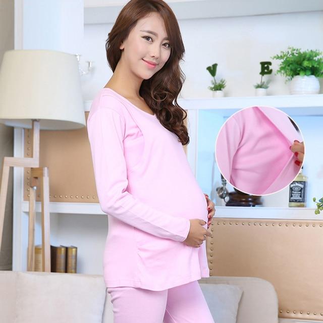 Spring and autumn large pregnant women pajamas home nursing wear ...