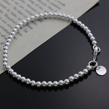 Beautiful fashion Elegant Gold color silver color 4MM beads chain women lady cute Bracelet high quality Gorgeous jewelry H198 1