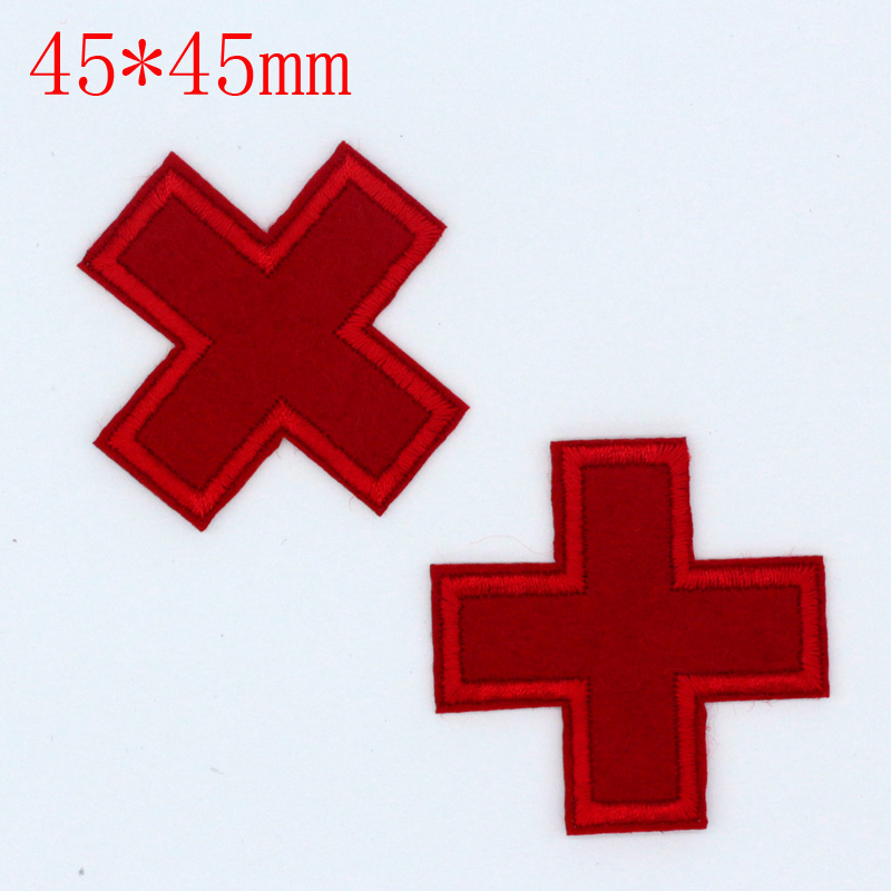 10pcs NEW 45*45mm Red Cross Design Iron On Embroidered Patches Sewing For Cloth Cartoon  ...
