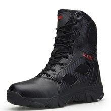 47bab378d CNFIIA Combate Militar Botas Homens Botas Botas Masculinas Tamanho Grande  45 46 47 Hard-Wearing Leve Tático Preto Sapatos 2018 q.