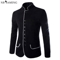 2016 New Luxury Men Jacket High Quality Fashion Stand Collar Wool Mens Blazer Coat Slim Fit