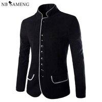 2016 New Luxury Men Jacket High Quality Fashion Stand Collar Wool Mens Blazer Coat Slim Fit