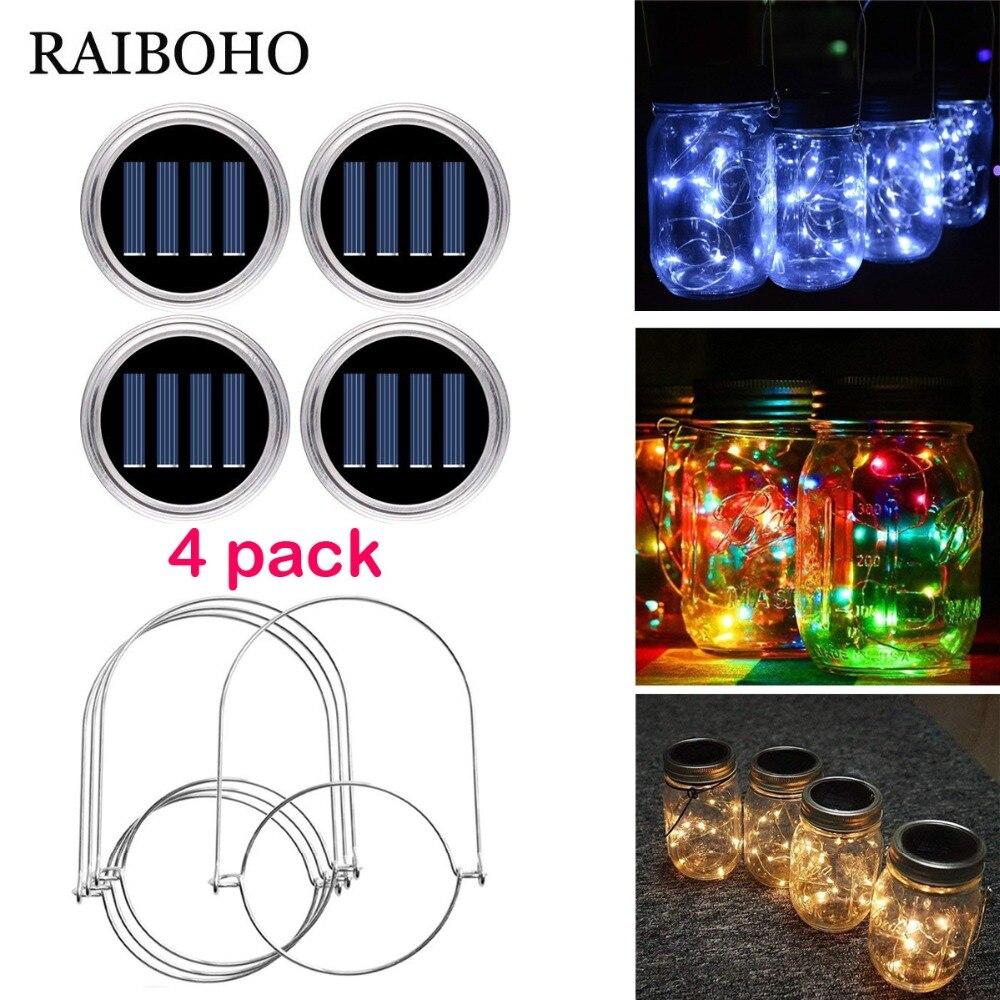 4 Pack Waterproof 10/20 LED Solar Mason Jar Light Lid With Hangers For Outdoor Garden Backyard Christmas Halloween Decoration