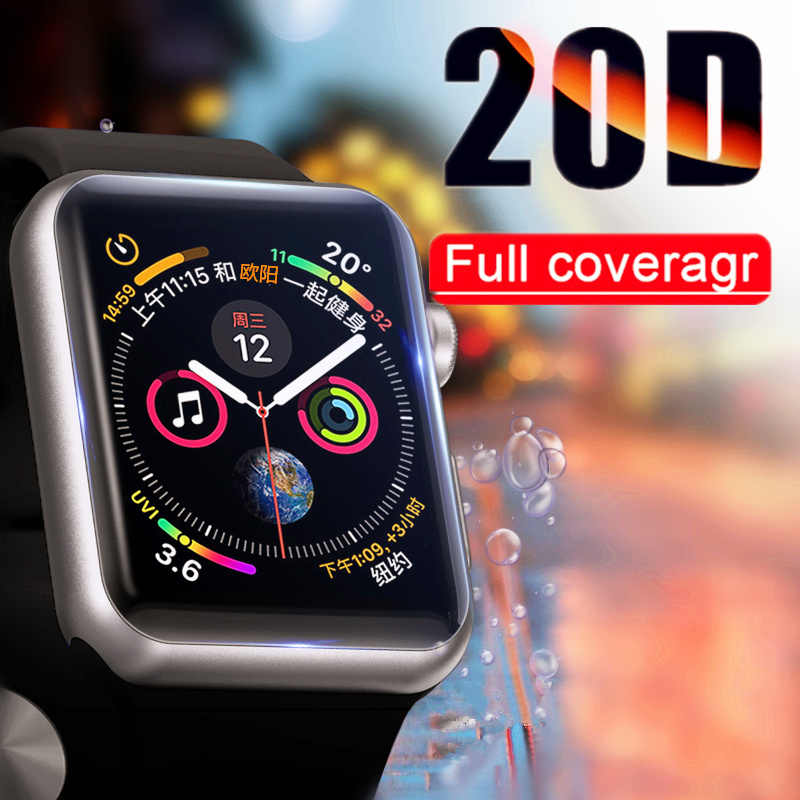 20D Curved Edge Protective Glass On The For Apple watch 1 2 3 4 Tempered Glass For Iwatch 38 40 42 44mm Screen Protector Film
