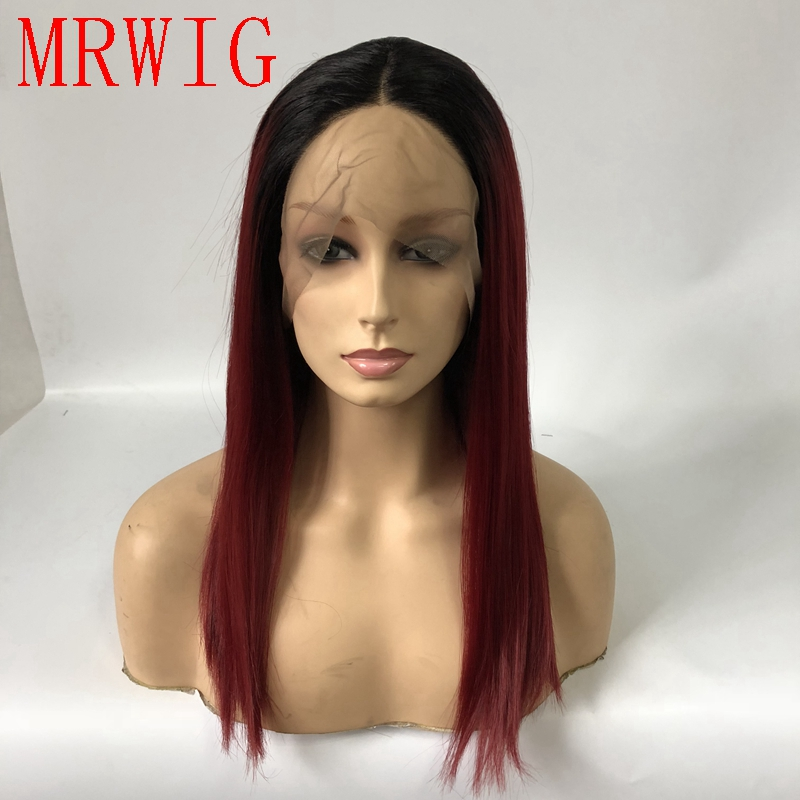 MRWIG natural looking 14in 36cm synthetic front lace wig ombre burgundy hair front lace wig cosplay heat resistant fiber