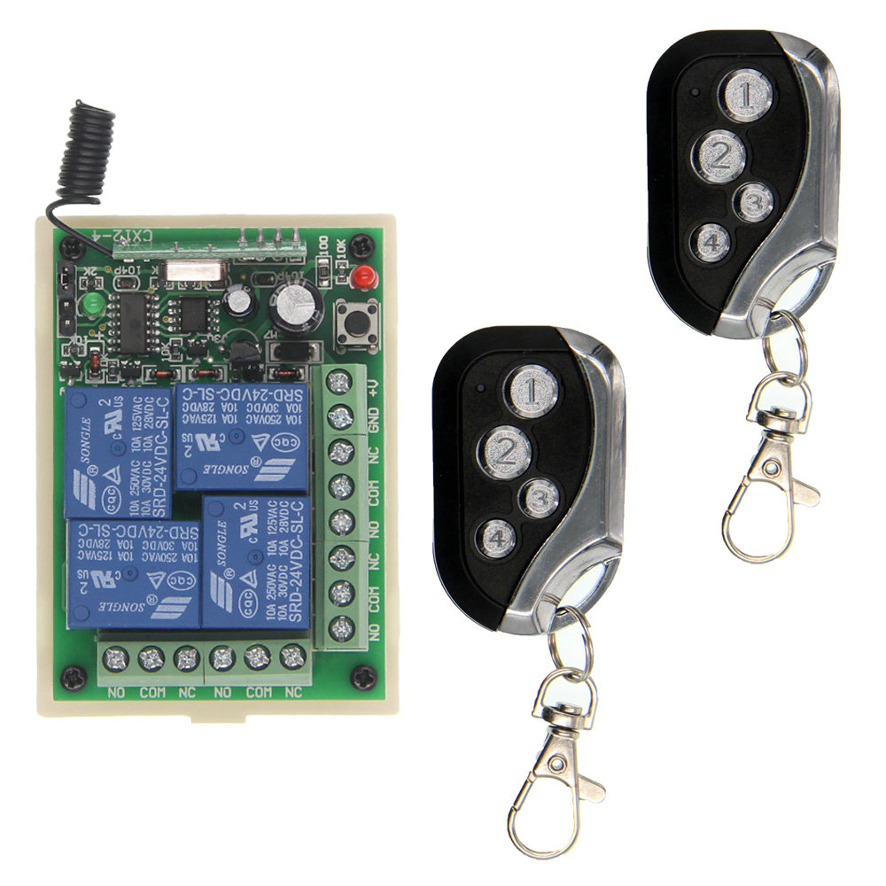 DC 12V 24V 4CH 4 CH 10A Wireless Remote Control Switch Relay Output Radio RF Transmitter Receiver mini wireless rf remote control light switch 10a relay output radio dc 12v 1 ch channel 1ch receiver module transmitter