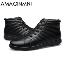 AMAGINMNI Big Size Men Shoes Fashion Winter Leather Ankle Boots Genuine Leather Mens Cowboy Boots Male Moccasin Boots 2017