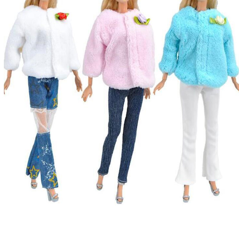 CXZYKING 1/6 Winter Doll Clothes Fashion Casual Wear Coat Tops+Pants Handmade Blouse Girls Suit For Barbie Accessories Toy Gift pure manual doll accessories knitted handmade sweater tops coat dress clothes for barbie doll gifts for girls kids toy