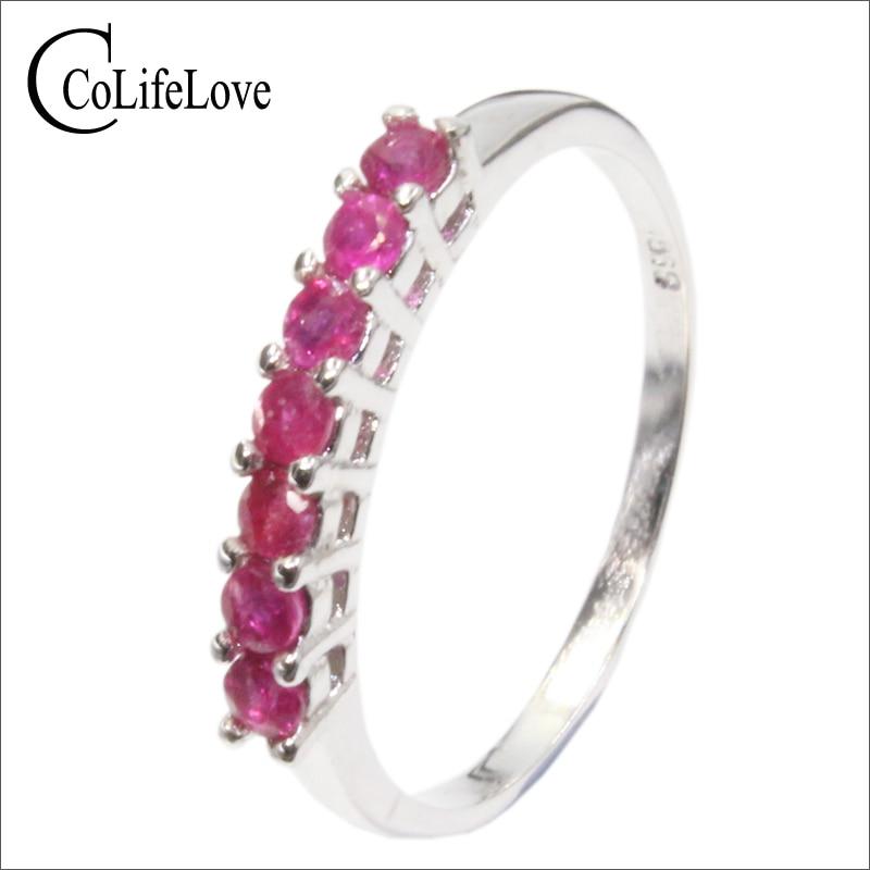 купить 100% natural genuine ruby gemestone fashionable silver ring 925 Solid Sterling Silver ruby wedding ring best gift for girl по цене 2589.03 рублей