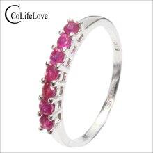 Anillo de plata de ley a la moda con gema de rubí auténtica natural 100%, anillo de bodas con rubí, el mejor regalo para niña