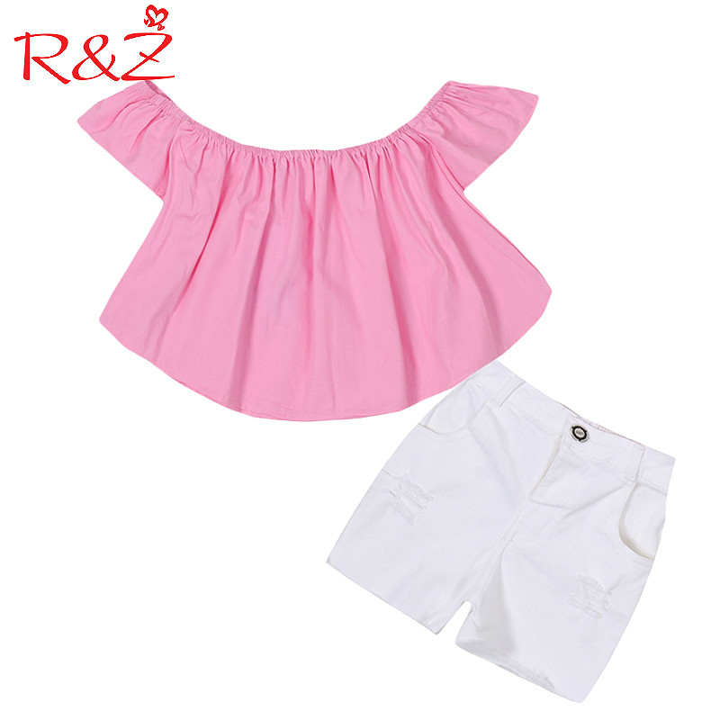 R&Z Baby Girls Clothes Set 2017 Ins New Explosion Fashion Cotton Word Shoulder T-shirt + Denim Shorts 2pcs Kids Clothing Suit