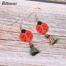 Rttooas DIY Exquisite Tassel Earrings for Women Fashion Summer Street Stye MIYUKI Handmade Woven Girls Gift