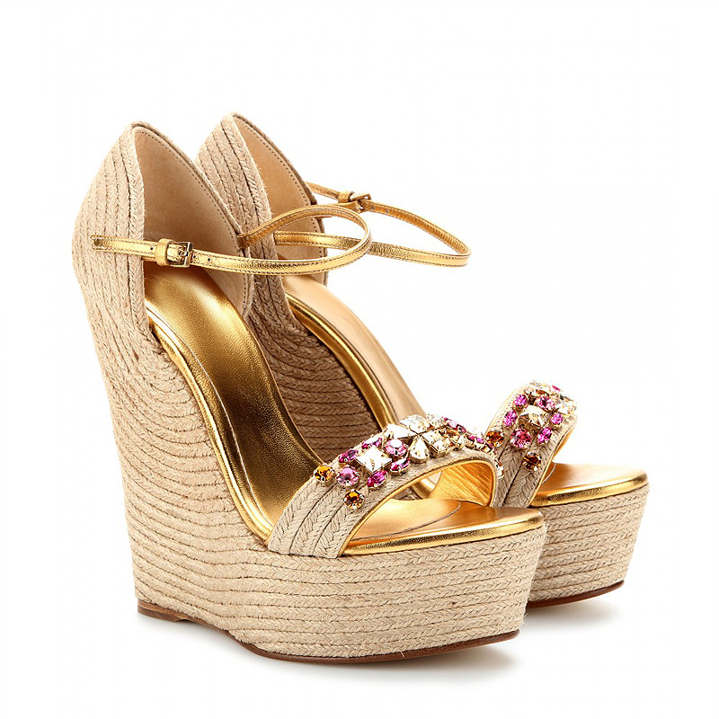 summer 2017 Women sandals wedges shoes platform crystal strappy heels fashion hemp rope braid open toe ladies gold sandals women e toy word summer platform wedges women sandals antiskid high heels shoes string beads open toe female slippers
