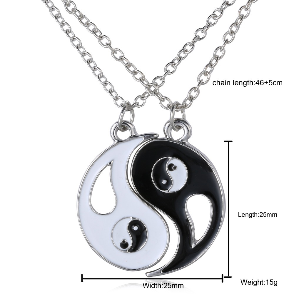 Necklace unique personalized for friendship/Valentines Day Vintage puzzle Hand Stamped Friendship yin yang puzzle pendant