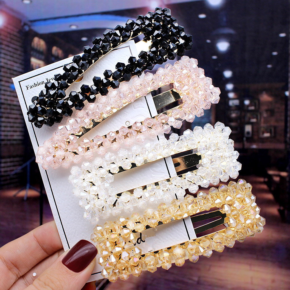 2019 New Women Korea Hollow Waterdrop Crystal Hair Accessories Crystal Beads Hair Clips For Girls Hair Bows Hairpins Barrette