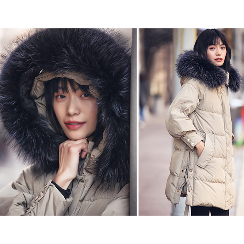 ff4610172 US $194.14 49% OFF|Women Fashion Winter Feather Down jacket 100% Big fur  collar Hat Warm Winter Big Coat Korean Quilted Overcoats real picture-in  Down ...