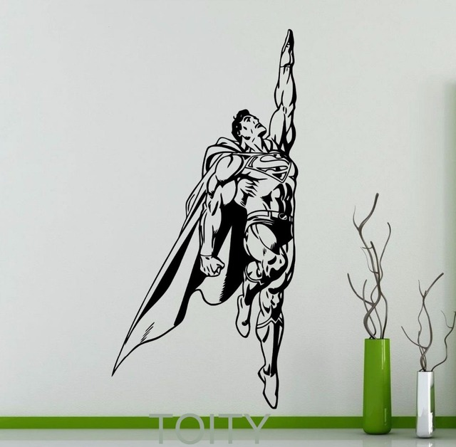 Superhero Man Movie Poster Wall Sticker DC Marvel Comics Superhero - Superhero vinyl wall decals