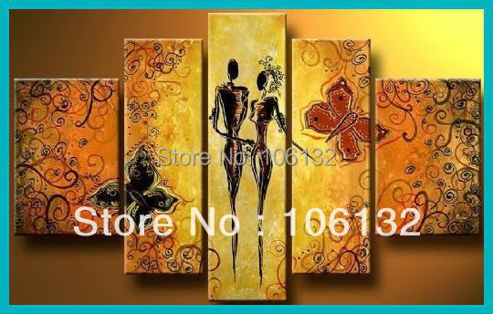 Framed 5 Panel Large High End Amazing Orange Canvas Painting Wall ...