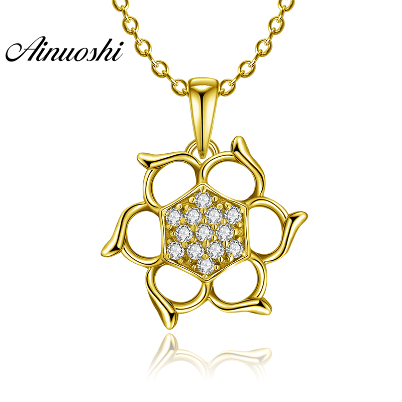 AINUOSHI 10K Solid Yellow Gold Pendant Hollow Flower Pendant SONA Diamond Women Men Jewelry Fine Flower Pattern Separate PendantAINUOSHI 10K Solid Yellow Gold Pendant Hollow Flower Pendant SONA Diamond Women Men Jewelry Fine Flower Pattern Separate Pendant