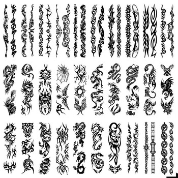 Wholesale New Original disposable tattoo transfer print temporary tattoos Black one time Body Art tatuajes 500pcs free shipping
