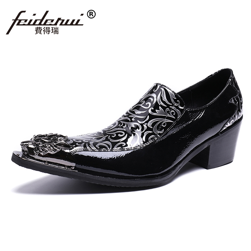 Plus Size Black Luxury Pointed Toe Slip on Male Loafers Patent Leather High Heels Runway Club Party Men's Shoes For Man SL16