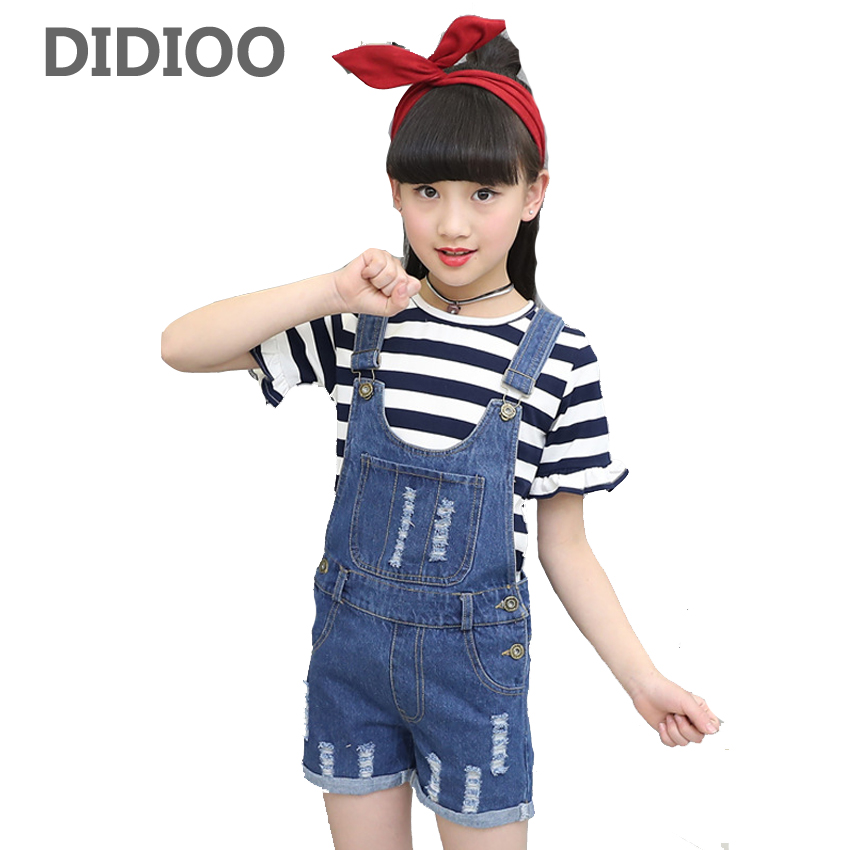 Girls T-shirts Denim Overall Suits Children Clothing Sets Kids Girls Long Sleeve Striped Tops Pants Clothes Sets Infant Outfits